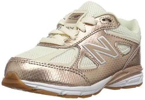 New Balance Girls' 990v4 Running Shoe, Gold/White, 7 W US Big Kid by New Balance