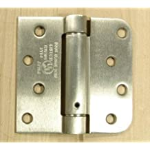 """Spring Self-Closing Hinges, 4"""" X 4"""" Square with 5/8"""" Satin Nickel - 2 Pack - Adjustable Door Closing"""