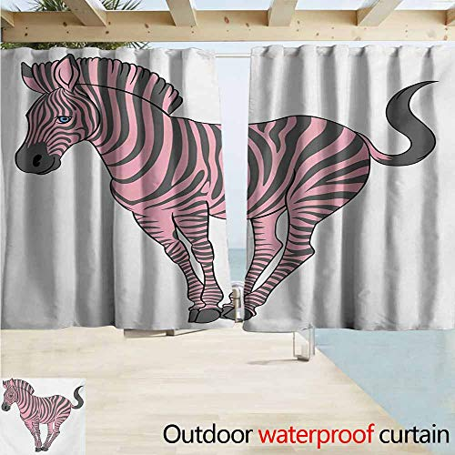 (AndyTours Balcony Curtains,Pink Zebra Naturalistic Baby Zebra in Funny Pose Zoo Wild Horse Kids Childish Theme,Draft Blocking Draperies,W72x63L Inches,Pale Pink Dimgrey)