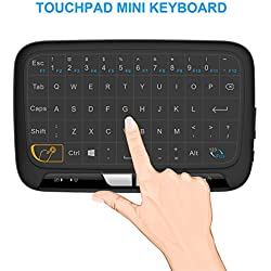 Mitid Full Touchpad Mini Keyboard Mouse Combo, 2.4GHz Wireless Remote Controls Google / Android TV Box, Smart TV, IPTV (Black)