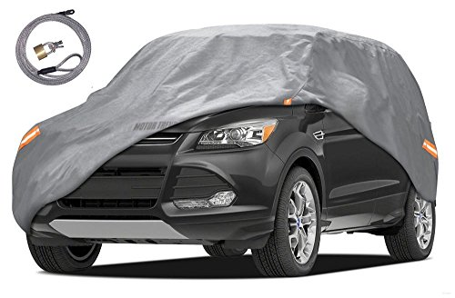 Motor Trend TrueShield Waterproof SUV & VAN Cover - Heavy Duty Outdoor Fleece-Lined Sonic Coating - Ultimate 6 Layer Protection - Cover Lock Included (XL - max length 210