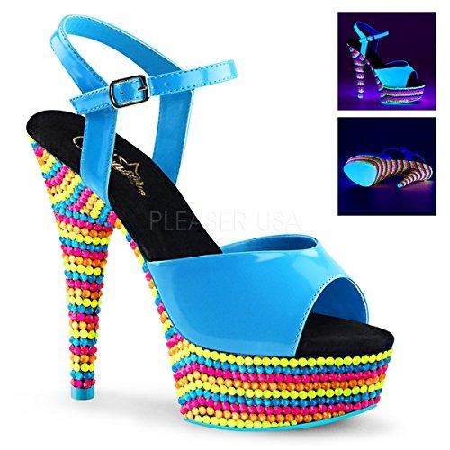 Pleaser Kvinners Glede 609rbs Ankel Strap Sandaler Neon Blå Patent / Neon Multi