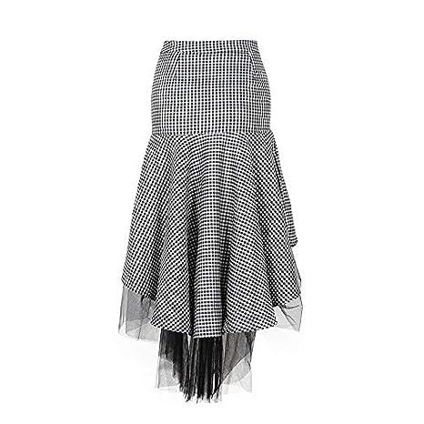 GDNTCJKY Faldas para Mujer Falda De Tul A Cuadros Falda Asimétrica ...