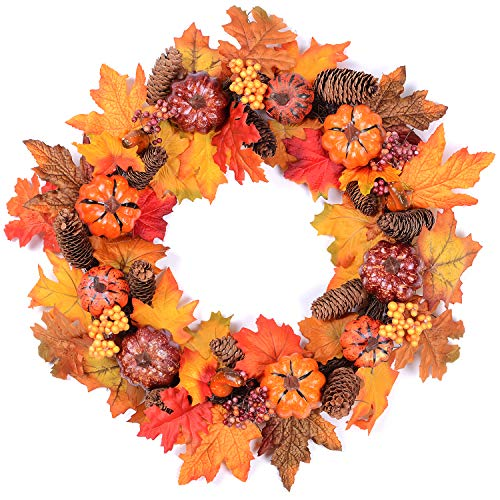 Pumpkins And Gourds - Woooow Pumpkin Harvest Silk Fall Wreath Front Door Wreath 20 Inches - Pumpkin Acorns Gourd Berries Maple Leaves Grapevine Thanksgiving Wreath Brightens Party Wedding Halloween Festival Decor