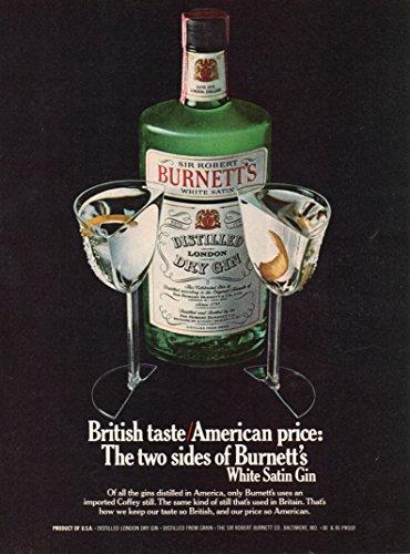 Dry Gin (Magazine Print Ad: 1979 Sir Robert Burnett's White Satin London Dry Gin