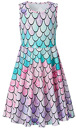 BFUSTYLE Girls 6t Mermaid Dress, Little Girl Light Purple Pink Blue Green Sundresses Size 7,6 Sleeveless Crewneck Party Swing Dress for Kid Girl Dress Up Spring (M,Mermaid Pink) -