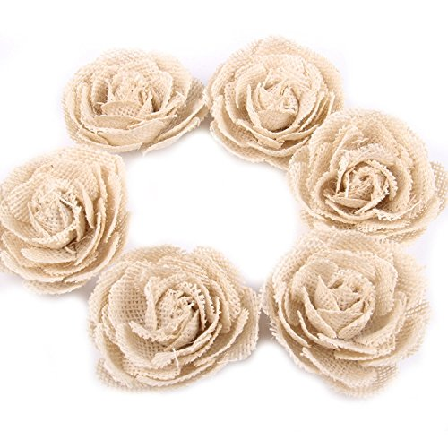 Small Flower Brads (6 Pack Hessian Burlap Rose Flowers for Wedding Party Decoration (6cm))