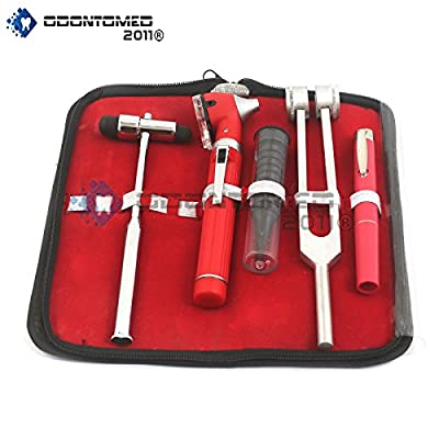 OdontoMed2011® LED FIBER OPTIC OTOSCOPE TUNING FORK C128 BUCK HAMMER PEN LIGHT ENT SET RED