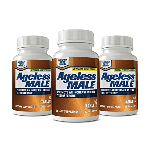Ageless Male Testosterone Booster Supplement for Muscle Growth & Sex Drive + E-Book! (Pack of 3)