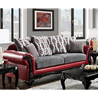 Furniture of America SM7501-SF Myron Furniture, Red/Light Gray