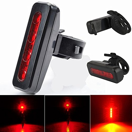 4 LED USB Rechargeable Bike Bicycle Cycling Tail Rear Safety Warning Light Lamp