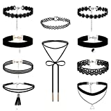 Flongo 10 Pieces Choker Necklace Set Stretch Velvet Classic Gothic Tattoo Lace Choker Necklaces, Black, Choker Set, Black Choker Necklaces Set for Teen Girls and Women