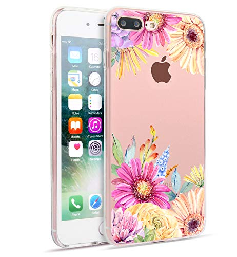 3b76b30ce4d3db iPhone 8 Plus iPhone 7 Plus Case Cute Flowers Watercolor Floral Pattern  Clear Soft TPU Back Cover Slim Flexible Shockproof Protective Fun Phone  Cases for ...