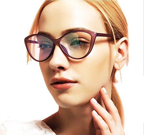 Agstum Ladies Womens Cat eye TR90 Glasses Frames Optical Eyeglasses 59mm (Light purple, - Large Frames Eyeglasses