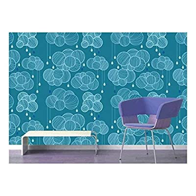 Beautiful Expertise, Premium Creation, Large Wall Mural Seamless Pattern with Clouds and Rain in Sky Vinyl Wallpaper Removable Decorating