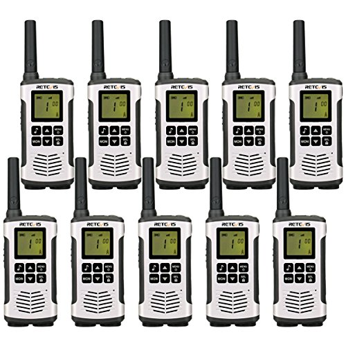 Retevis RT45 Walkie Talkies Rechargeable 22 Channel Call Reminder Private Codes Scan License-Free Hands Free 2 Way Radio (10 Pack) by Retevis