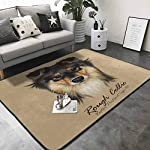 Floor mats for Kids Collie Dog Animal Cute face. Vector Mahogany Sable Rough Collie Puppy Head Portrait. 63 x 48 in Rugs for Kitchen Floor 8