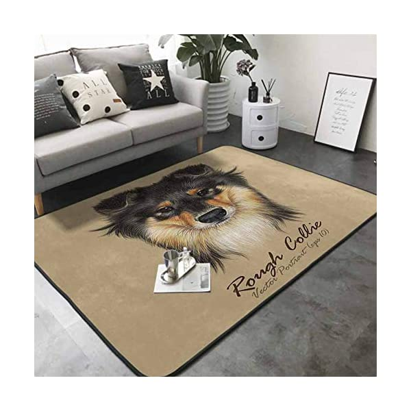 Floor mats for Kids Collie Dog Animal Cute face. Vector Mahogany Sable Rough Collie Puppy Head Portrait. 63 x 48 in Rugs for Kitchen Floor 3