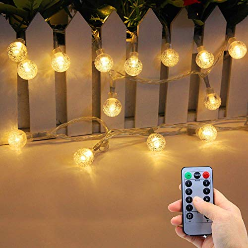Lezoey Battery Operated String Lights Indoor Outdoor 33Fft 80leds Crystal globe Led fairy Lights with Remote Control for Bedroom Patio Party Christmas Decorative -