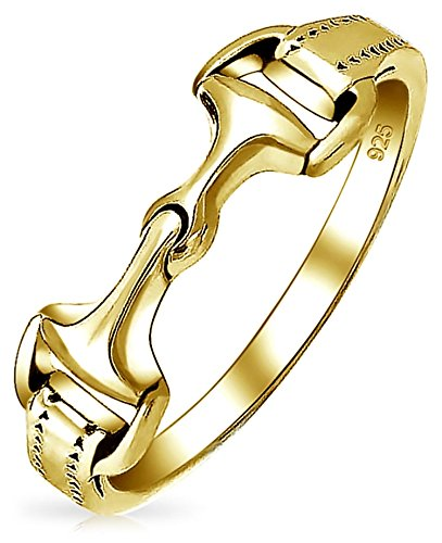 14K Gold Plated 925 Sterling Silver Cow Girl Equestrian Double Horse Bit Band Ring For Women For Teen
