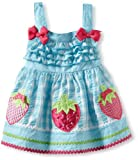 Youngland Baby-Girls Infant Sleeveless Ruffle Bodice Gingham Seersucker With Strawberry Appliques, Turquoise White, 12 Months image