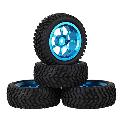 Mxfans 12mm Hex Blue Aluminum Alloy 7-Spoke Wheel Rims + Black 75mm Dia Beard Pattern Rubber Tyre RC 1:10 On Road Car Pack of 4