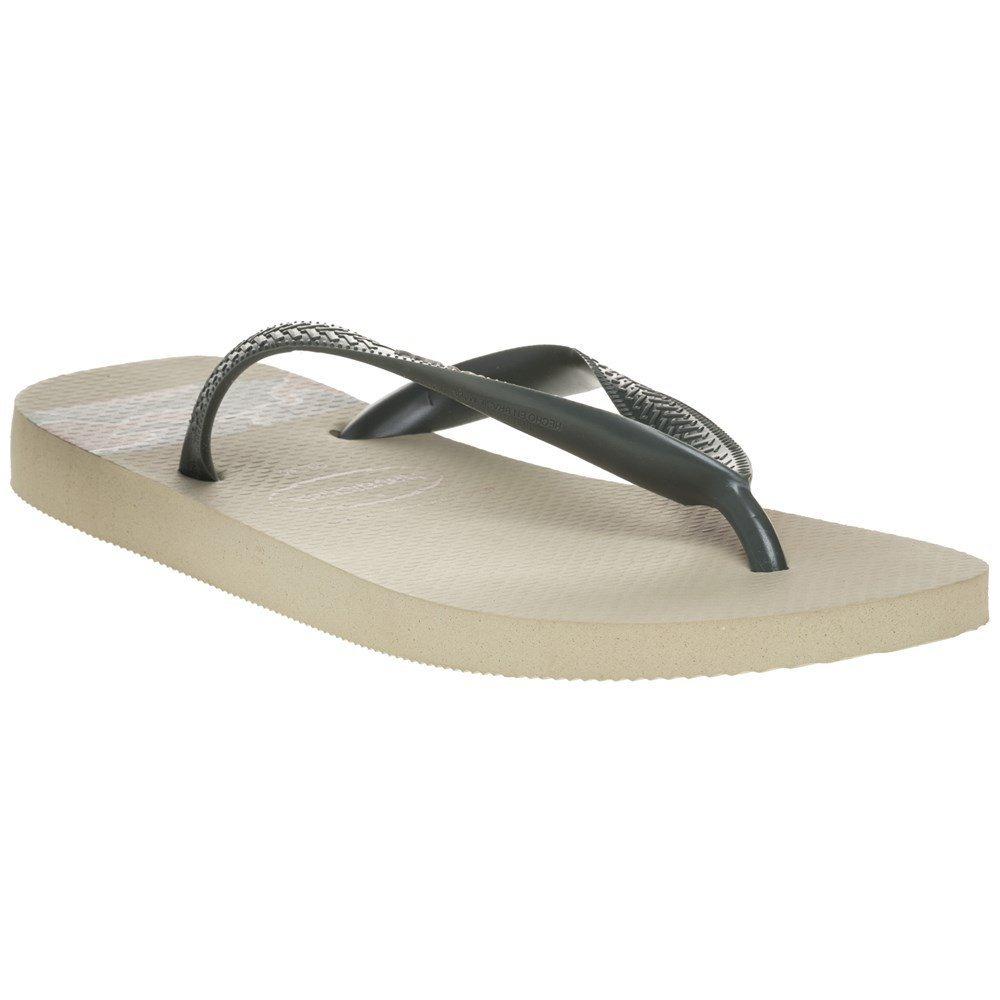 Havaianas Mens Top Stripes Logo Synthetic Flip-Flops Sand Grey Size EU 45/46 - Bra 43/44 - US M10/11