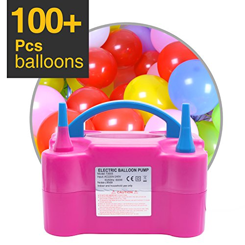 MESHA Electric Balloon inflator Filler with 144 pcs Balloons Portable Dual Nozzle Inflator/Blower for Party Decoration 110V 600W Air -