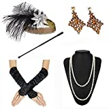 1920s Accessories Feather Jewel Headband Faux Pearl Necklace Gloves Cigarette Holder
