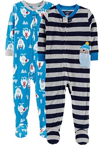 Blue Carters Fleece (Carter's Boys' Toddler 2-Pack Fleece Pajamas (Blue/Grey, 2T))