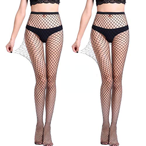 (Women's 2PK Sexy Fishnet Pantyhose,Seamless Mesh Hollow Out Sheer Tights Black Stockings)