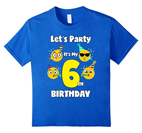 Kids Emoji Birthday Shirt For 6 Six Year Old Girl Boy Tod...