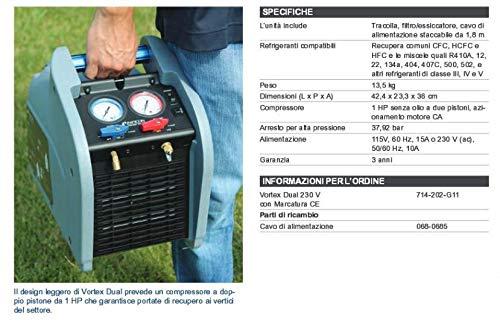 Recuperador de gas refrigerante INFICON Vortex doble Made in USA 3 años de garantía: Amazon.es: Industria, empresas y ciencia