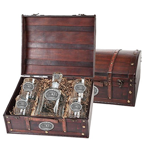 Illinois Fighting illini Liquor Decanter Set by Heritage Metalworks
