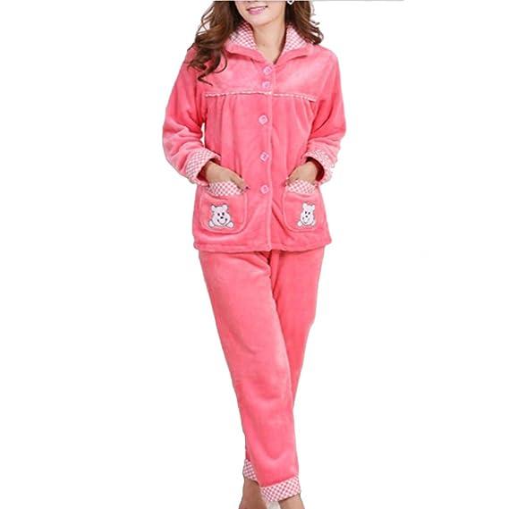 Traje de pijamas de franela de mujer más gruesa # 08: Amazon.es: Ropa y accesorios
