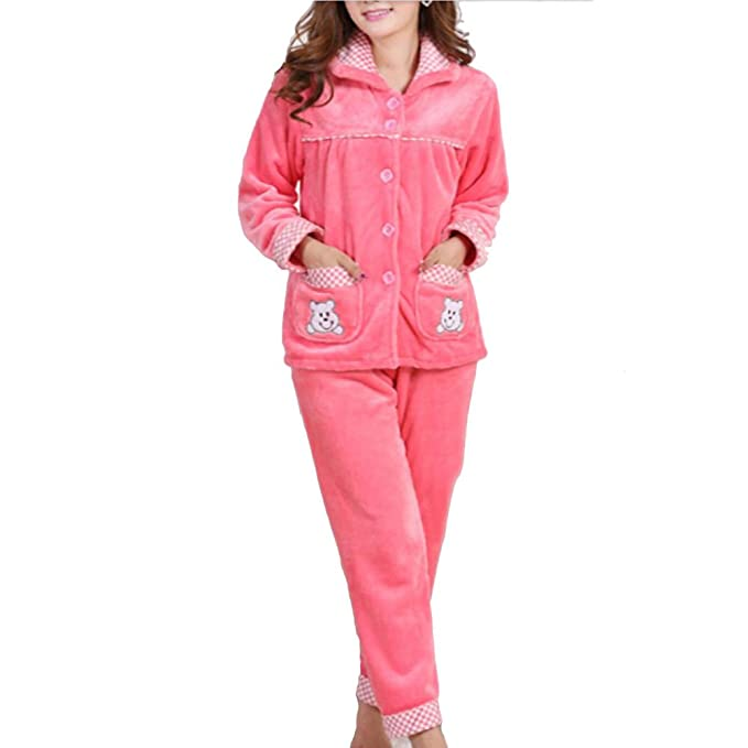 Traje de pijamas de franela de mujer más gruesa # 08