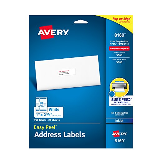 Avery Mailing Address Labels  Inkjet Printers  750 Labels  1 X 2 5 8  Permanent Adhesive  Easy Peel  8160