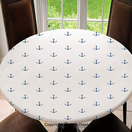 Elastic Edged Round Tablecloth Classical Vivid Blue Anchors Simplistic Design Marine Hobby Lifestyle Themed Symbols Decorative Polyester Washable Table Cover Kitchen Restaurant Party Decoration, Rou