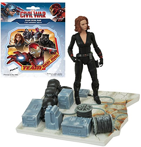 Diamond Select Toys Marvel Select: Avengers Age of Ultron: Black Widow Action Figure Bundle includes Team Iron Man Vinyl Window Decal Sticker