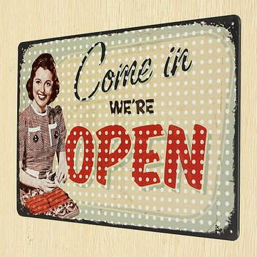 Open Tin Sign Retro Vintage Metal Plaque Pub Bar Store Wall (Open Bar Nyc Halloween)