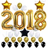 2018 BALLOONS GOLD, Graduation Decorations - Large Size, Gold, Black and White Latex Balloons| Graduation Balloons Banner | Great for Graduations Party Supplies 2018 or New Years Eve Party Supplies