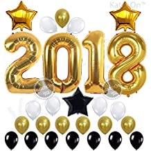 KATCHON 031 2018 Decorations-Large Size, Gold, Black and White Latex Graduation Balloons