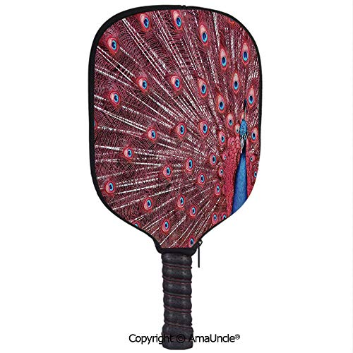 SCOXIXI Customized Racket Cover, Stylish A Beautiful Male Peacock Displays His Plumage Majestic Surreal Wildlife Theme ArtRacket Cover,Protect Your Pickleball Paddles