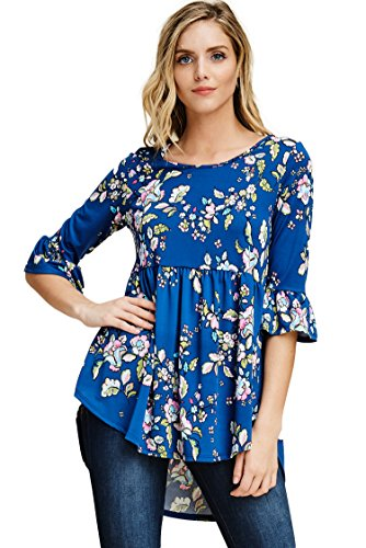 Annabelle Women's Floral Print Below Waist Length Curve Hem Gathered Waist Bell Sleeve Top Royal Small T1370 (Top Sleeve Gathered)
