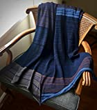 Organic Cotton Bamboo Hand-Knitted Throw Blanket for Home - Indigo Carob India Throw - Knit Home Decor by Pico Vela