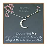 EFYTAL Best Friend Gifts, 925 Sterling Silver CZ Crescent Moon & Stars Necklace, Friendship Necklaces for Soul Sisters, Unbiological Sister or BFF