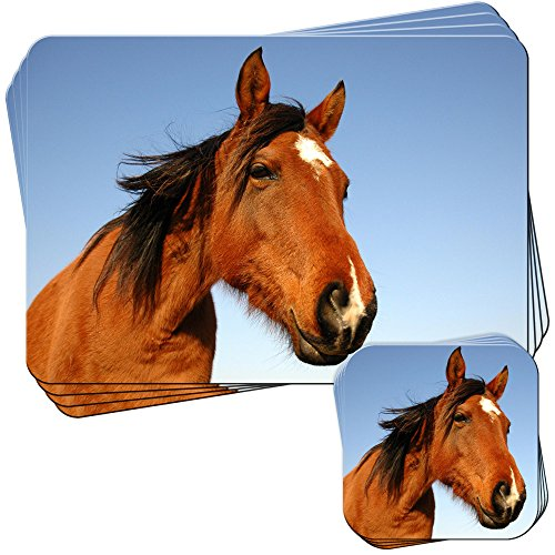 (Close Up Smiling Brown Horse Set of 4 Placemats and)