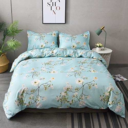 M&Meagle 2 Pieces Floral Flower Duvet Cover Set with Zipper and Corner Ties,Plant Printed,100% Brushed Microfiber Bedding Set for Women and Men-Twin Size(2Pcs,1 Duvet Cover 1 Pillowcase)
