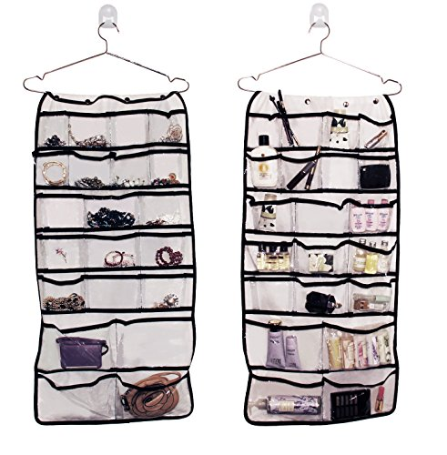 Hanging jewelry organizer with double sided pockets 35 Inches long 17 inches - College Hut