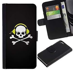 All Phone Most Case / Oferta Especial Cáscara Funda de cuero Monedero Cubierta de proteccion Caso / Wallet Case for Apple Iphone 5 / 5S // Skull Beat Bones